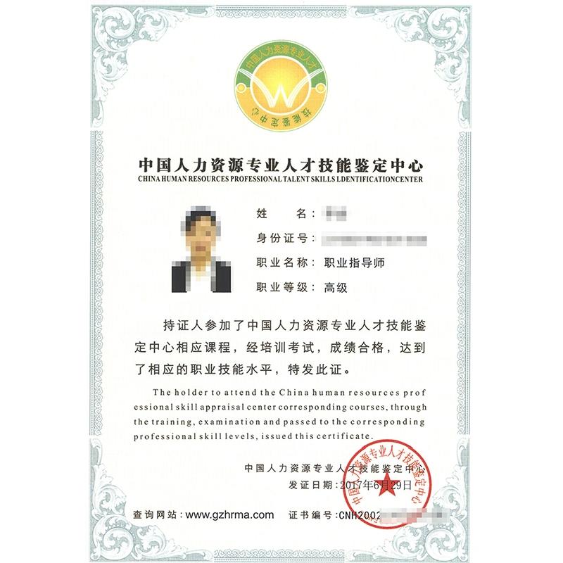 专业人才技能鉴定证书